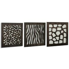Head West Carved Animal Wall Set, 12-Inch by 12-Inch, Set of 3 by Head West - HW Home. $99.99. Wood grain panel with matching frame. Bendable tabs for easy cleaning. Made in the usa. Add a touch of the Serengeti to your home with these 3 matching home accent wall mirrors. These lasered, Zebra, Cheetah, and Leopard cutouts have an espresso-stained, wood grained front panel with a matching frame.  The mirror is put in with bendable tabs so it may be removed for cleaning. The mi...