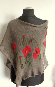 Linen Shawl Cape Clothing Natural Gray Red Poppy Felted Wool - Best Sewing Tips Presents For Her, Wool Felt, Felted Wool, Red Poppies, Red Flowers, Hand Embroidery, Knit Crochet, Knitting Patterns, Cape Clothing