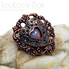 Layered Heart Copper Brass Silver Moonstoon Glass by LooLoosBox, $24.00