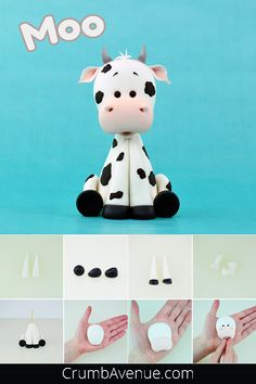 free, tutorial, fondant, cow, farm animals, cute, how to make, step by step, moo, idea, clay, inspiration, figure, figurine, cake decorating, sugar craft, sugar art, Crumb Avenue