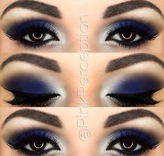 blue smokey eye - Make Up 2019 Blue Makeup Looks, Blue Eye Makeup, Eye Makeup Tips, Smokey Eye Makeup, Eyeshadow Makeup, Makeup Ideas, Makeup Tutorials, Makeup Brushes, Navy Blue Makeup