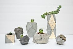 Geometric Concrete Succulent Cacti Planter by ConcreteGeometric Concrete Furniture, Concrete Projects, Concrete Crafts, Cement Planters, Ceramic Planters, Concrete Planters, Outdoor Plants, Potted Plants, Plant Pots