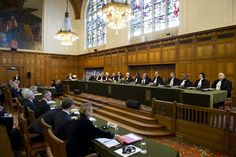 A photo of the chamber of the International Court of Justice