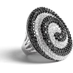 Kevin Charles Mulinello Swirl Crystal Ring ($166) ❤ liked on Polyvore featuring jewelry, rings, accessories, aneis, anillos, cocktail rings, black silver rings, crystal jewellery, black and silver ring and crystal stone jewelry