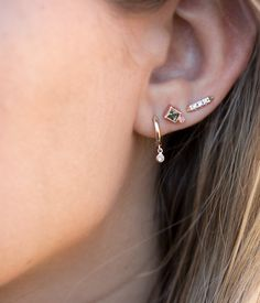 Diamond Dangle Charm Hoops - Audry Rose