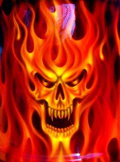 Close up shot of Mr. Skull Flames Kustom Trash Kan Up Close n Personal Skull Couple Tattoo, Skull Tattoos, Dark Fantasy Art, Airbrush Skull, Arte Lowrider, Badass Skulls, Skull Stencil, Flame Art, Skull Pictures