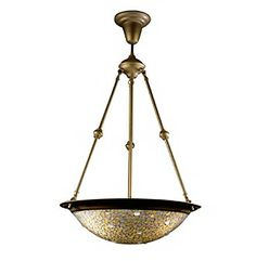 """Web exclusive! This hanging fixture features a delicate mosaic of gold, honey and amber tones. 18""""W x 43""""H  $273.00 Carsons"""