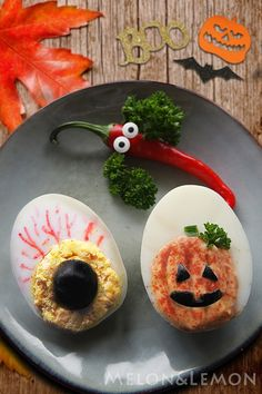 Halloween: stuffed eggs   Halloween: uova ripiene
