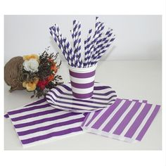 Wholesale Purple Striped Party Drinking Straws