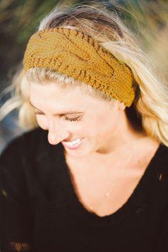 Mustard Knit Headband Boho Knit Headband Winter by ElizabethKoh