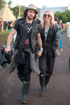 Aaron and Sam Taylor-Johnson wearing exclusive personalised Hunter Original boots at Glastonbury 2015