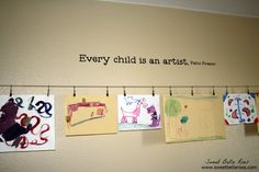 Great way to display kids art in a playroom