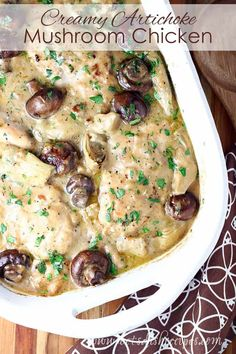 Creamy Artichoke Mushroom Chicken Recipe -- This easy to make baked chicken dish features artichoke hearts and fresh mushrooms for a unique and tasty twist on the usual chicken dinner. Walnut Chicken Recipe, Chicken Mushroom Recipes, Baked Chicken Recipes, Chicken Mushrooms, Stuffed Mushrooms, Vegan Recipes Easy, Healthy Dinner Recipes, Healthy Food, Healthy Eating