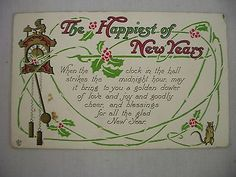 VINTAGE EMBOSSED NEW YEAR POSTCARD PENDULUM CLOCK W/ MOUSE, HOLLY & GREETING1919