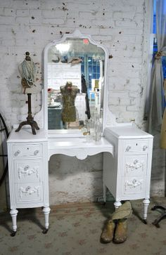 Vintage Painted Cottage Shabby Aqua Chic Vanity от paintedcottages