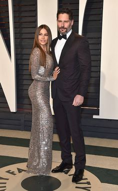 Sofia Vergara & Joe Manganiello from 2017 Vanity Fair Oscars After-Party  TheModern Familyfunny lady stunned in a metallic gown alongside her famous husband. The actor looked equally dapper in a classic black tuxedo.