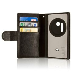 Nokia Lumia 1020 - Textured Black Genuine Leather (EMPIRE KLIX Genuine Leather Wallet Case - Screen Protector Included)