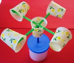 Anemometer. Make your own wind mill with paper cups. A great craft for kids to play with inside or outside!