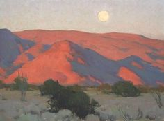 Mojave Moonrise -Glenn Dean ~ 18 x 24 Contemporary Landscape, Abstract Landscape, Landscape Paintings, Oil Paintings, Indian Art Gallery, Southwestern Art, Desert Art, Le Far West, Traditional Paintings