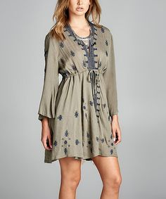 Look what I found on #zulily! Taupe Three-Quarter Sleeve Tunic - Plus #zulilyfinds