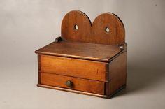 HANGING WALL BOX. American, 19th Century. Cherry an