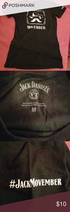 Rare jack Daniels Movember tee black size m #JackMovember on left sleeve Jack Daniels Tops Tees - Short Sleeve