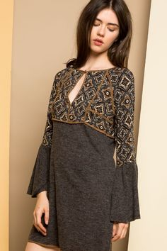 THML | Women's empire-waist dress with keyhole and bell sleeves for a boho-inspired print for fall.