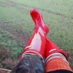 I have major Wellies envy, if I have my farm I WILL have my pair of bright red Hunters too! Hunter Wellies, Hunter Boots, Red Hunter, Rubber Rain Boots, Pairs, Hunters, Cornwall, Envy, Shoes