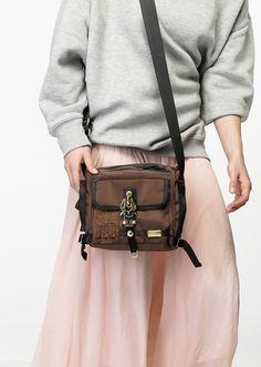 Handbag Junior Postman, carabiner clasp, Nylon, George Gina & Lucy
