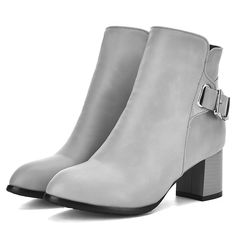 Shoespie Plain Color Buckle Chunky Heel Fashion Booties
