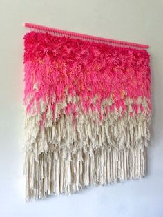 Woven wall hanging / Furry Electric Wonderful Cherry by jujujust Weaving Textiles, Weaving Art, Loom Weaving, Tapestry Weaving, Hand Weaving, Tapestry Headboard, Weaving Wall Hanging, Wall Hangings, Colorful Tapestry