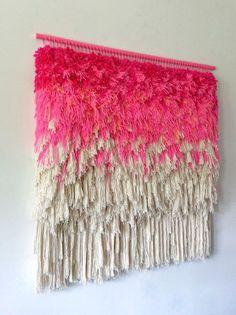 Woven wall hanging / Furry Electric Wonderful Cherry by jujujust Weaving Wall Hanging, Weaving Art, Tapestry Weaving, Loom Weaving, Hand Weaving, Wall Hangings, Tapestry Headboard, Colorful Tapestry, Wool Thread