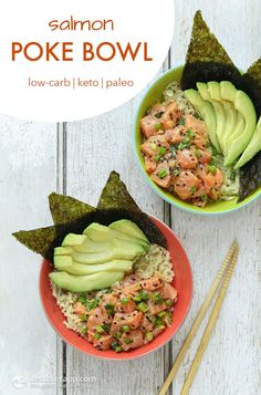 Keto & Paleo Salmon Poke Bowl – a healthy refreshing low-carb summer dish! Keto & Paleo Salmon Poke Bowl – a healthy refreshing low-carb summer dish! Paleo Snack, Paleo Dinner, Healthy Dinner Recipes, Paleo Recipes, Whole Food Recipes, Paleo Sushi, Low Carb Sushi, Easy Salmon Recipes, Seafood Recipes