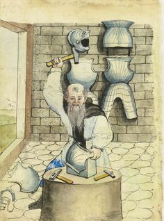 1 Conz Falck, with block and anvil, 1533, Stadtbibliothek Nuremberg Mendel I. Medieval illustration of an armorer at work.