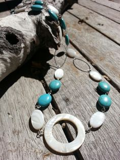 Turquoise gemstone and shell Necklace