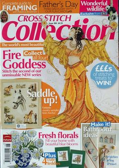 Cross Stitch Collection 184 2010 Fire Goddess; horses, panda, country scene, dad's day cards