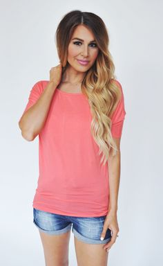 Dottie Couture Boutique - Coral Basic Tunic, $22.00 (http://www.dottiecouture.com/coral-basic-tunic/)