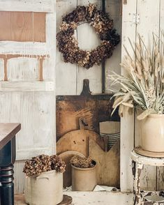 """Emily Baker on Instagram: """"It was a rainy and overcast day today - but I made the best of it right here at home ... literally 😂. I spent the afternoon this wreath…"""" Rustic Farmhouse, Ladder Decor, Crock, Wreaths, Instagram, Home, Door Wreaths, Ad Home, Deco Mesh Wreaths"""