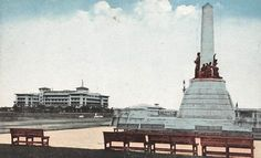 Manila Hotel in the Distance Retro Pi, Jose Rizal, Pinoy, Manila, Old Photos, Statue Of Liberty, Philippines, Past, Places To Visit