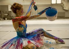 i love this idea if she wasn't holding the paintbrush or bucket.