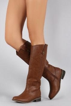 Breckelle Round Toe Riding Knee High Boot