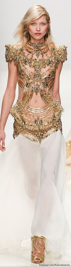 Valentin Yudashkin | S/S 2014 gold bodice dress with stunning structure and bead detail
