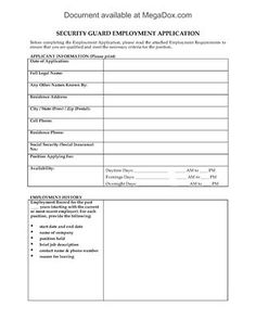 Show details for Security Guard Employment Application Form Private Security Companies, Word Check, Private Investigator, Application Form, Security Guard, Citizenship, In Writing, Positivity, Templates