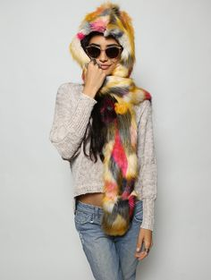 Monarch Butterfly faux fur animal inspired hood (100% Vegan). Unisex (one size fits most).