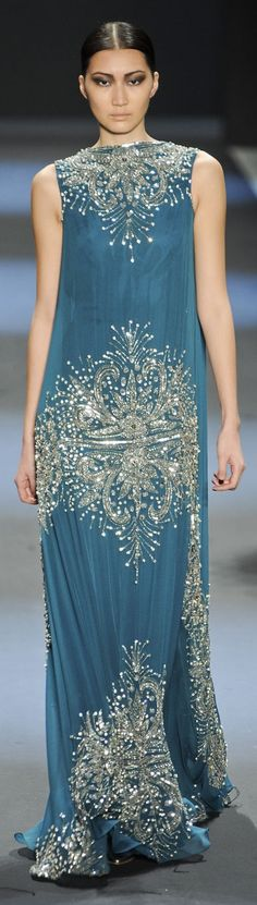 Naeem Khan ~ White Crystals + Silver Embroidered Dusty Blue Gown Fall 2011