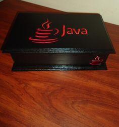 "Caja de Té-Café con tapa de madera, seis divisiones. Personalizada logo "" Java"""