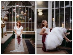 Bride in vintage gowns from Lace & Co. - Elodie by Charlotte Balbier and Claire by House of Mooshki, with Christmas baubles