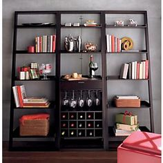 Sloane Espresso Leaning Wine Bar Crate and Barrel