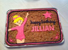 Birthday Cake granting 9 year old's wish for a cookie cake with a gymnast on it for her party at Little Gym 9 Year Old Girl Birthday, Bday Girl, Birthday Fun, Birthday Parties, Birthday Ideas, Gymnastics Birthday Cakes, Gymnastics Party, Bolo Original, Fundraiser Party