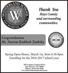 Wonderland School San Marcos, Texas Est. 1965    Thank You Hays County | Wonderland School - San Marcos, TX #texas #SanMarcosTX #shoplocal #localTX